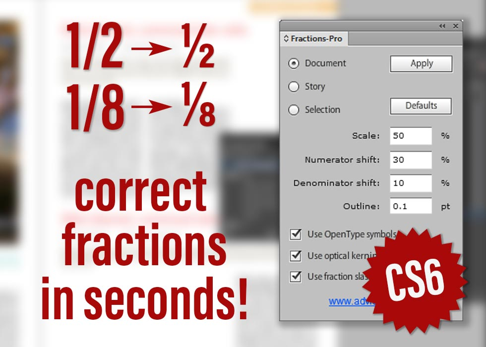 InDesign script correct fractions