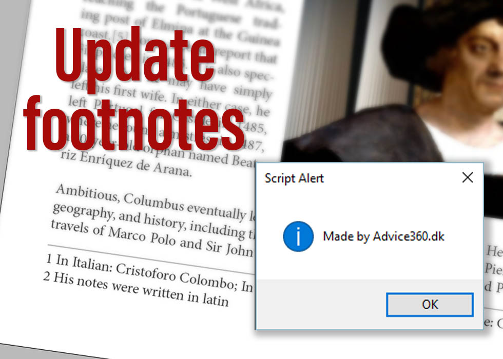 Update foot notes InDesign script