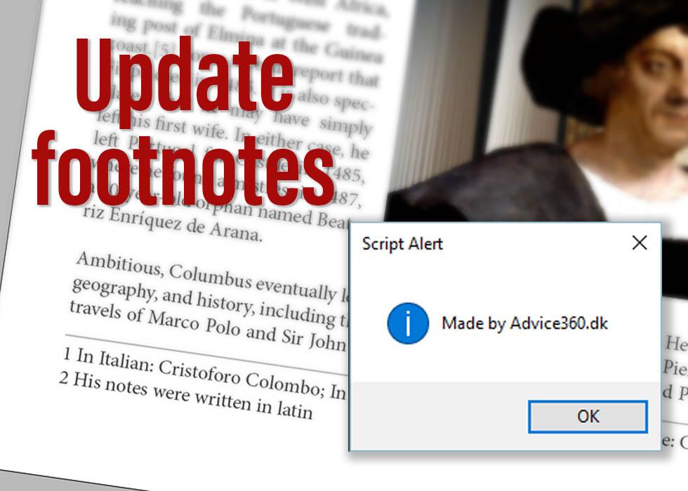 Update footnotes - InDesign Scripts